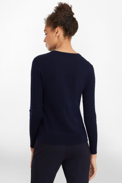 SVETR BROOKS BROTHERS CABLE-KNIT MERINO WOOL SWEATER