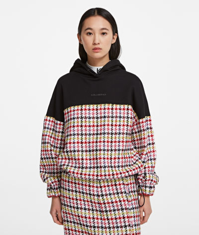 PULÓVER KARL LAGERFELD BOUCLE JERSEY MIX HOODIE