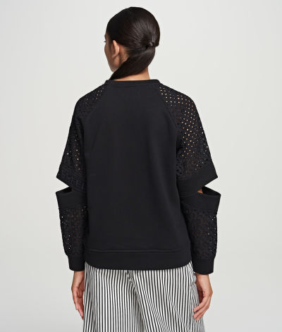MIKINA KARL LAGERFELD CUT OUT LACE SLV SWEAT TOP