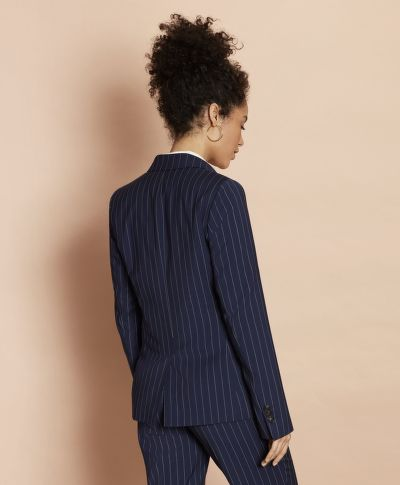 SAKO BROOKS BROTHERS STRIPED STRETCH-WOOL DOUBLE-BREASTED JACKET