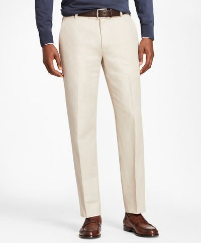 NADRÁG BROOKS BROTHERS CBT COTTON/LINEN PANT MILANO OATMEAL