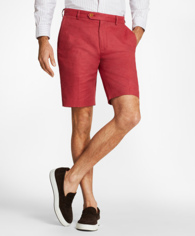 RÖVIDNADRÁG BROOKS BROTHERS CBT COTTON/LINEN BERMUDA BRICK RED