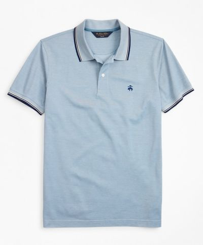 PÓLÓ BROOKS BROTHERS KNT ML OXFORD PIQUE WITH TIPPING SF KNIT_OXFORD_PROVINCIAL_BLUE