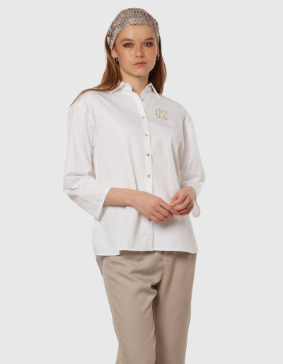 ING LA MARTINA WOMAN 3/4SLEEVE SHIRT COTTON P