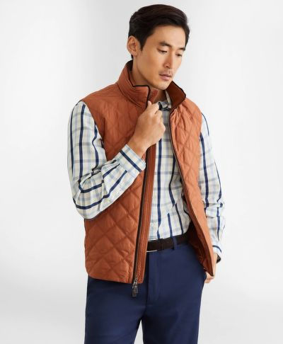 MELLÉNY BROOKS BROTHERS OUT DIAMOND QUILTED VEST LTBROWN