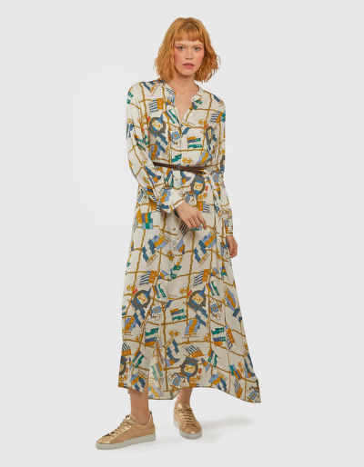 RUHA LA MARTINA WOMAN FLAGS PRINT L/S DRESS