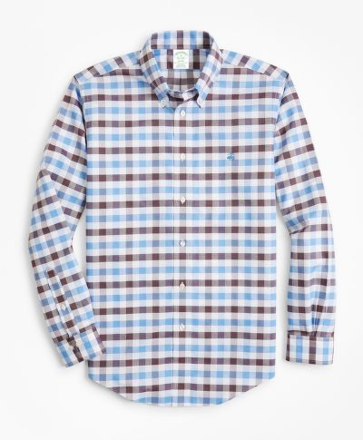 ING BROOKS BROTHERS NON-IRON MILANO FIT MULTI-GINGHAM DOBBY SPORT SHIRT