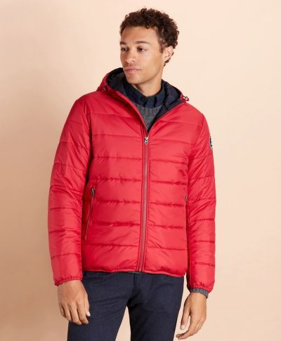 DZSEKI BROOKS BROTHERS QUILTED HOODED PUFFER JACKET