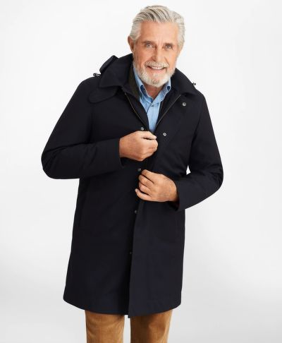 KABÁT BROOKS BROTHERS BONDED TWILL HOODED TOPCOAT