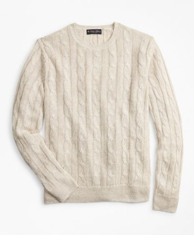 KARDIGÁN BROOKS BROTHERS SWT ML LINEN CLASSIC CABLE CREWNECK OATMEAL MARL