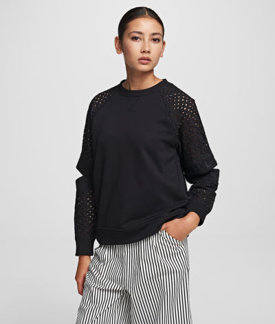 MELEGÍTŐ FELSŐ KARL LAGERFELD CUT OUT LACE SLV SWEAT TOP