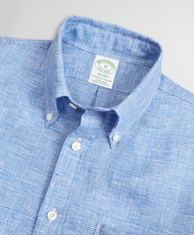 KOŠILE BROOKS BROTHERS SPT ML LINEN STRIPES/CHECKS MILANO GLENBLUE