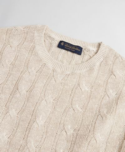 SVETR BROOKS BROTHERS SWT ML LINEN CLASSIC CABLE CREWNECK OATMEAL MARL