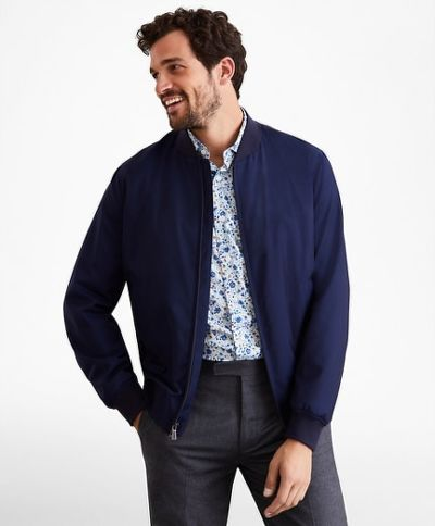 DZSEKI BROOKS BROTHERS OUT GF LW WOOL BOMBER BLUE HTHR