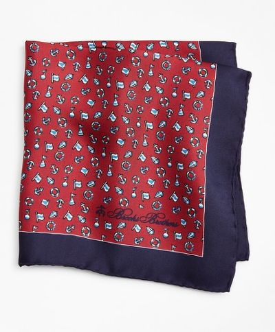 ZSEBKENDŐ BROOKS BROTHERS PCKT SQR NAUTICAL RED NAUTICAL PS