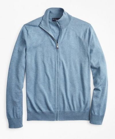 PULÓVER BROOKS BROTHERS SWT NEW SUPCTN FULL ZIP MED BLUE HTR
