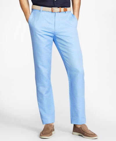 NADRÁG BROOKS BROTHERS CBT COTTON/LINEN PANT MILANO CORNFLOWER BLUE