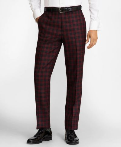 NADRÁG BROOKS BROTHERS REGENT FIT RED PLAID WOOL TROUSERS
