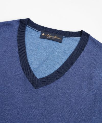 SVETR BROOKS BROTHERS SWT ML SILK COTTON COLORBLOCK VNECK COLOR BLOCK BLUE