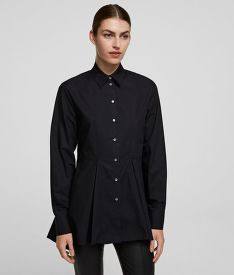 ING KARL LAGERFELD EMBROIDERED PEPLUM TUNIC SHIRT