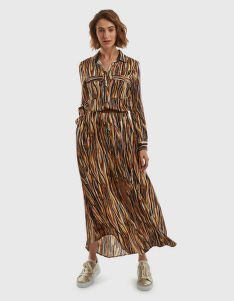 RUHA LA MARTINA WOMAN LONG TWILL PRINTED DRESS