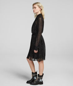 RUHA KARL LAGERFELD LEOPARD JACQUARD SHIRT DRESS