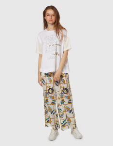 NADRÁG LA MARTINA WOMAN FLAGS PRINT VISCOSE PANT