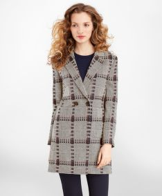 KABÁT BROOKS BROTHERS WOOL-SILK GLEN PLAID COAT