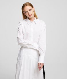 RUHA KARL LAGERFELD POPLIN SHIRT DRESS W/ PLEATS