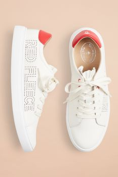 TORNACIPŐ BROOKS BROTHERS RUFFLE-TRIMMED LOGO-DETAIL LEATHER LOW-TOP SNEAKERS