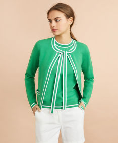 KARDIGÁN BROOKS BROTHERS SWT CTN NYLON CARDI BOW GREEN WHITE STRIPE