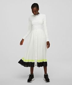 SZOKNYA KARL LAGERFELD PLEATED SKIRT W/ STRIPED HEM