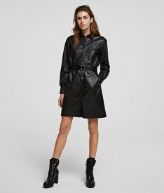 RUHA KARL LAGERFELD FAUX LEATHER SHIRT DRESS