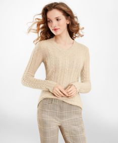 PULÓVER BROOKS BROTHERS CABLE-KNIT CASHMERE V-NECK SWEATER