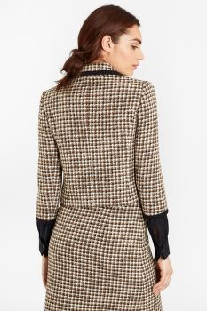 ZAKÓ BROOKS BROTHERS CHECKED TWEED CROPPED JACKET