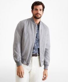 DZSEKI BROOKS BROTHERS OUT GF LW WOOL BOMBER LIGHT GREY HTHR