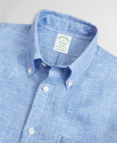 ING BROOKS BROTHERS SPT ML LINEN STRIPES/CHECKS MILANO GLENBLUE