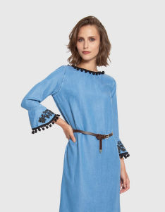 RUHA LA MARTINA WOMAN DRESS L/S DENIM TENCEL