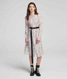 RUHA KARL LAGERFELD ORCHID PRINT SILK SHIRT DRESS