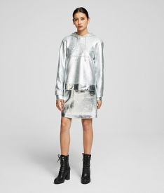 SZOKNYA KARL LAGERFELD SILVER COATED SKIRT