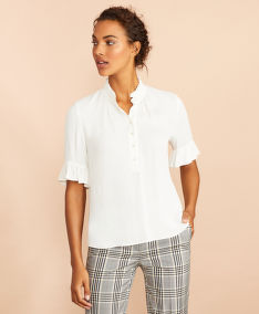 BLÚZ BROOKS BROTHERS BLS SFT VISCOSE HALF PLACKET BRIGHT WHITE