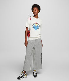 NADRÁG KARL LAGERFELD WIDE LEG CROPPED COTTON PANTS