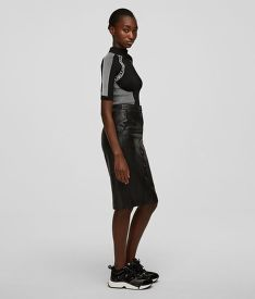 SZOKNYA KARL LAGERFELD LEATHER SKIRT W/ SNAPS