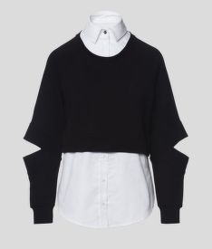 MELEGÍTŐ FELSŐ KARL LAGERFELD DOUBLE LAYER FABRIC MIX SWEAT