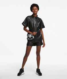 ING KARL LAGERFELD FAUX LEATHER CARGO SHIRT