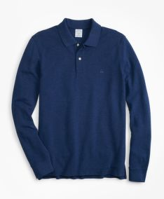 PÓLÓ BROOKS BROTHERS SLIM FIT SUPIMA LONG-SLEEVE PERFORMANCE POLO SHIRT