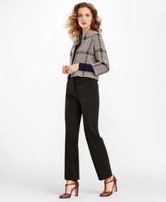 ZAKÓ BROOKS BROTHERS WOOL-SILK GLEN PLAID CROPPED JACKET