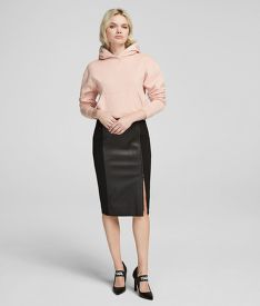 SZOKNYA KARL LAGERFELD LEATHER & PUNTO PENCIL SKIRT